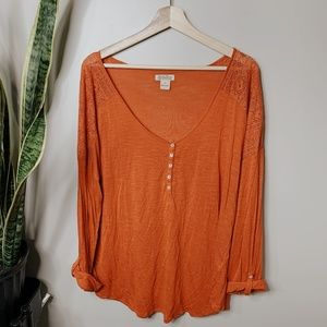 • LUCKY BRAND • orange cut out shoulder top